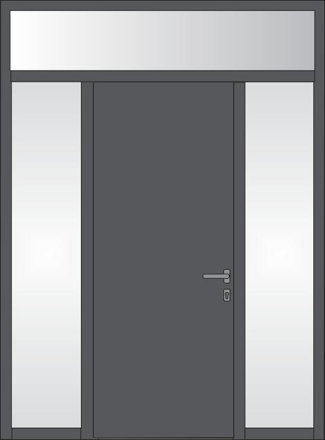 Tür mit feststehenden seitlichen Glaseinsätzen und feststehendem oder kippbarem Oberlicht